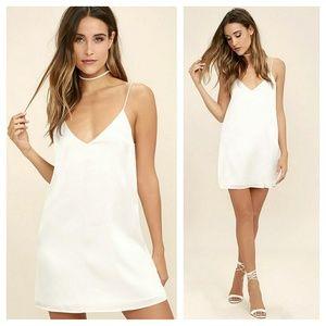 Lulus dance til dawn white satin slip dress
